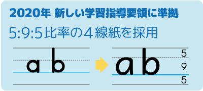 文部科学省の英語教材1:1:1の等間隔の4線紙、5:9:5比率の違い